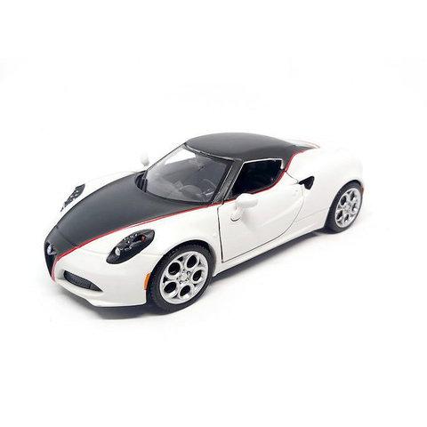Alfa Romeo 4C satijn wit / zwart  - Modelauto 1:24