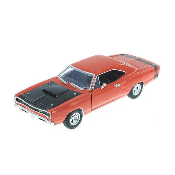 Modelauto Dodge Coronet Super Bee 1969 oranje/zwart 1:24