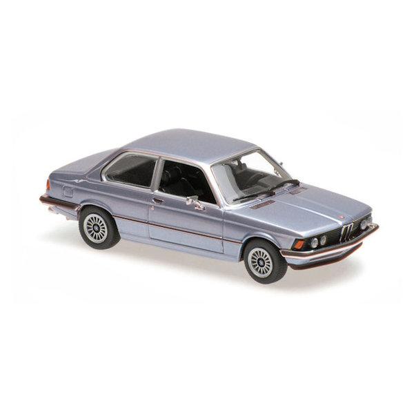Model car BMW 323i (E21) 1975 light blue metallic 1:43