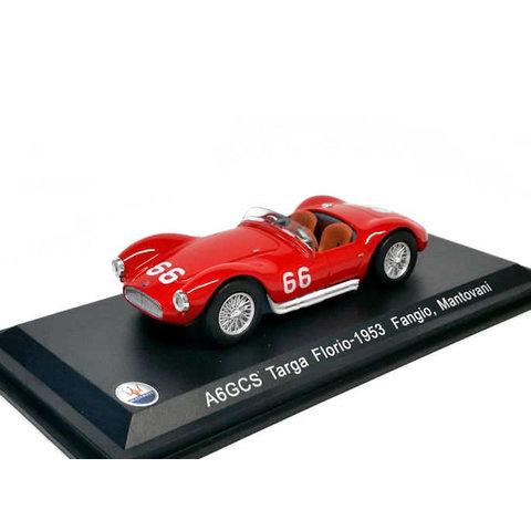 Maserati A6GCS No. 66 1953 rood - Modelauto 1:43
