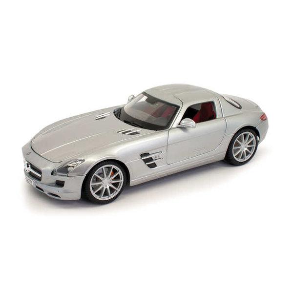 Modelauto Mercedes Benz SLS AMG zilver 1:18