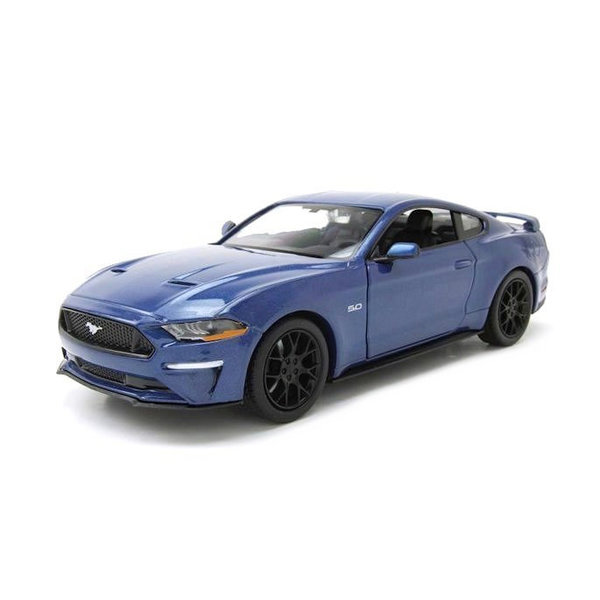 Modelauto Ford Mustang GT 2018 blauw 1:24