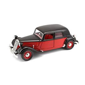 Bburago Citroën Traction Avant 15 CV TA 1938 rood/zwart - Modelauto 1:24