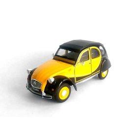 Welly Citroën 2CV 6 Charleston geel/zwart - Modelauto 1:24