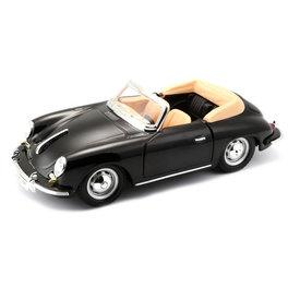 Bburago Porsche 356 B Cabriolet 1961 zwart - Modelauto 1:24