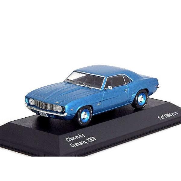 Model car Chevrolet Camaro 1969 blue metallic 1:43   WhiteBox