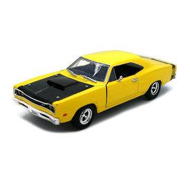 Motormax Dodge Coronet Super Bee 1969 geel/zwart - Modelauto 1:24