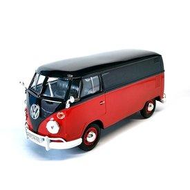 Motormax Volkswagen T1 type 2 Transporter rood/zwart - Modelauto 1:24