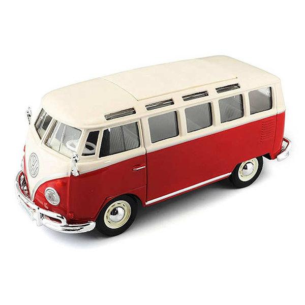 Modelauto Volkswagen T1 Samba Bus rood/wit 1:25