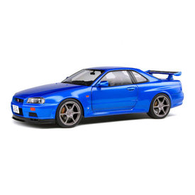 Solido | Modelauto Nissan Skyline GT-R (R34) 1999 blauw metallic 1:18