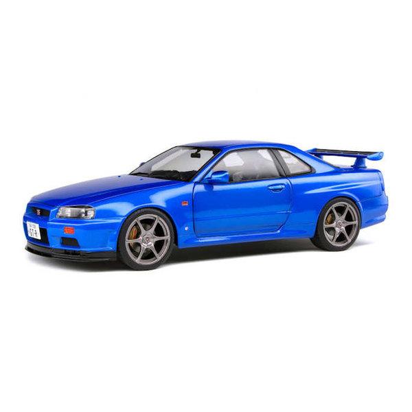 Modelauto Nissan Skyline GT-R (R34) 1999 blauw metallic 1:18