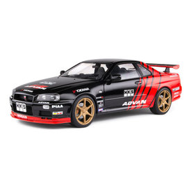 Solido Nissan Skyline GT-R (R34) Advan drift 1999 - Modelauto 1:18