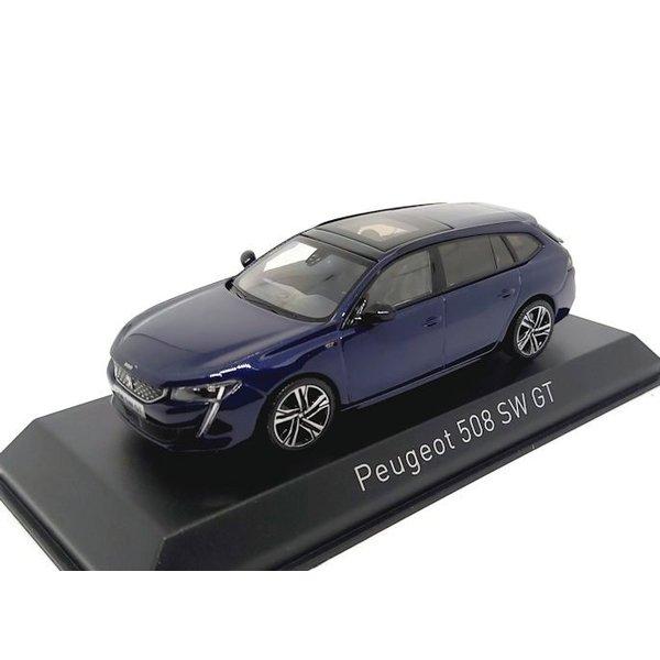 Modelauto Peugeot 508 SW GT 2018 donkerblauw 1:43
