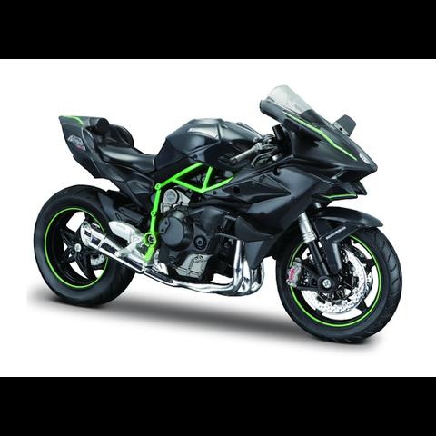 Kawasaki Ninja H2 R zwart/groen - Modelmotor 1:12
