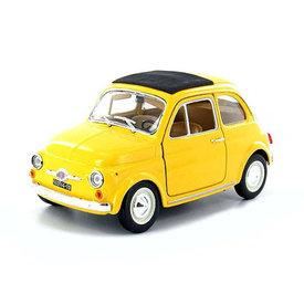 Bburago Fiat 500L 1968 geel - Modelauto 1:24
