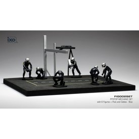 Ixo Models Pit stop set blue with 6 figures, poles and hoses 1:43