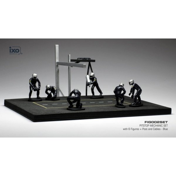 Pit stop set blue with 6 figures, poles and hoses 1:43   Ixo Models
