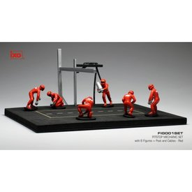 Ixo Models Pit stop set red with 6 figures, poles and hoses 1:43