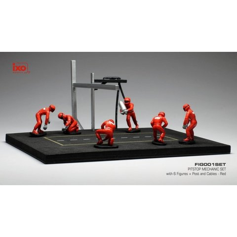 Pit stop set red with 6 figures, poles and hoses 1:43