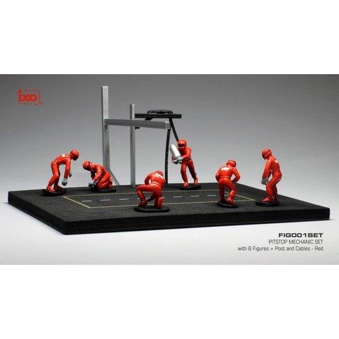 Pit stop set rood met 6 figuren, palen en slangen 1:43