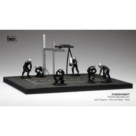 Ixo Models Pit stop set zwart met 6 figuren, palen en slangen 1:43