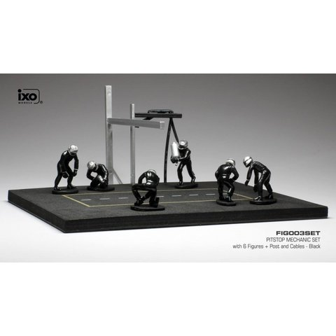 Pit stop set black with 6 figures, pole and hoses 1:43