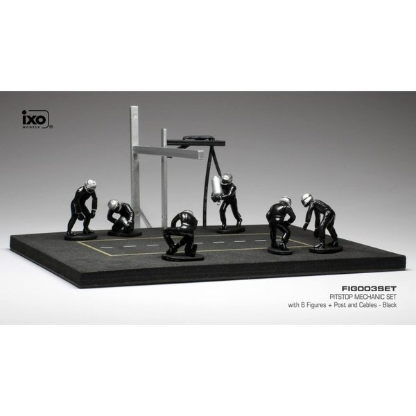 Pit stop set black with 6 figures, pole and hoses 1:43 | Ixo Models