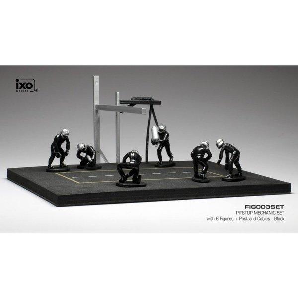 Pit stop set zwart met 6 figuren, paal en slangen 1:43