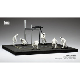 Ixo Models Pit stop set white with 6 figures, poles and hoses 1:43