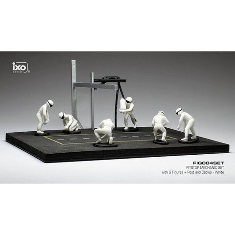 Pit stop set white with 6 figures, poles and hoses 1:43