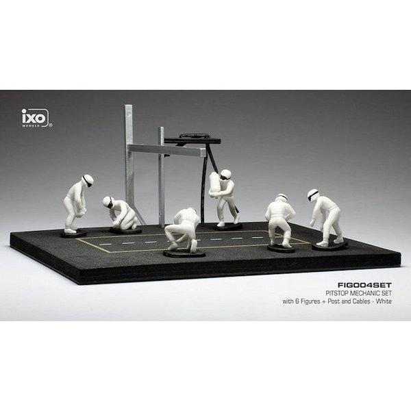 Pit stop set wit met 6 figuren, palen en slangen 1:43 | Ixo Models