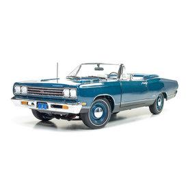 Auto World Plymouth GTX Convertible 1969 blauw metallic - Modelauto 1:18