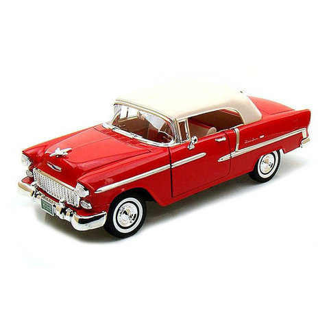 Chevrolet Bel Air Closed Convertible 1955 rood - Modelauto 1:18