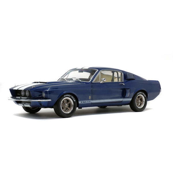 Modelauto Shelby Ford Mustang GT500 1967 blauw/wit 1:18
