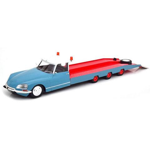 Citroën DS Tissier autotransporter 1970 blauw / wit / rood - Modelauto 1:18