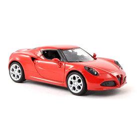 Motormax Modelauto Alfa Romeo 4C rood 1:24