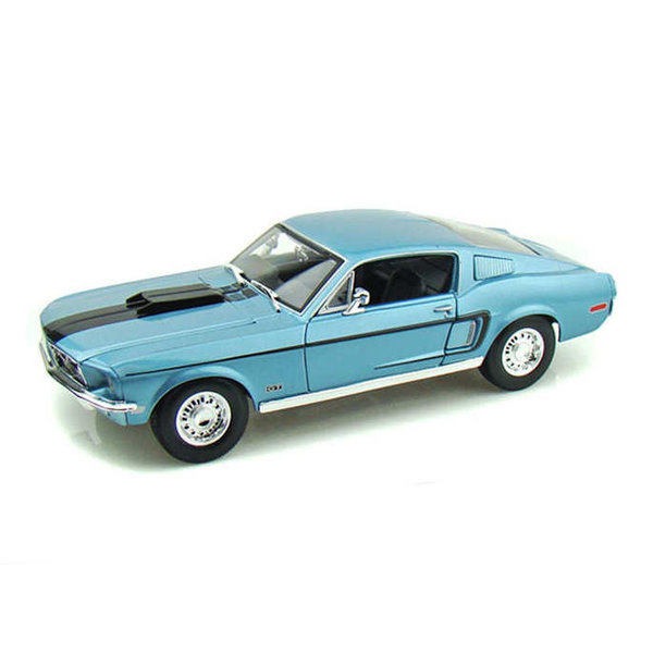 Modelauto Ford Mustang GT Cobra Jet 1968 blauw metallic 1:18