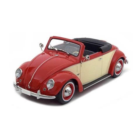 Volkswagen 1200 Hebmüller Cabriolet 1949 rood/creme - Modelauto 1:18