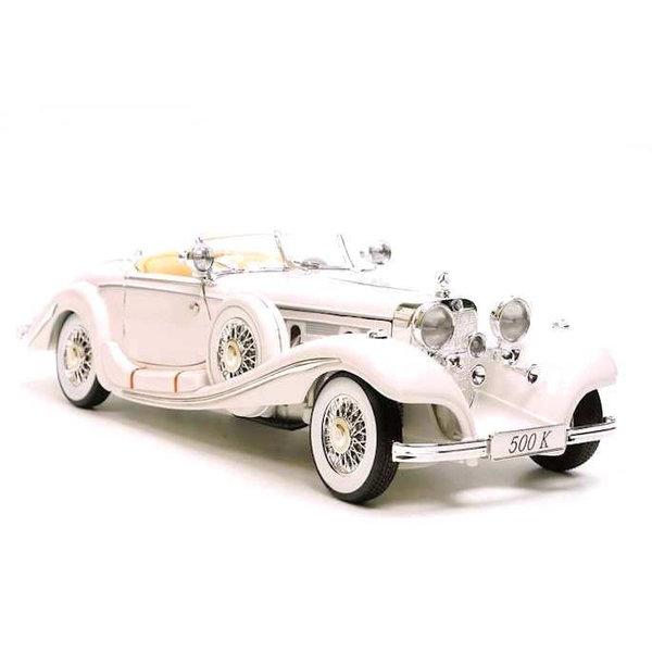 Modelauto Mercedes Benz 500K Special Roadster 1936 wit 1:18   Maisto