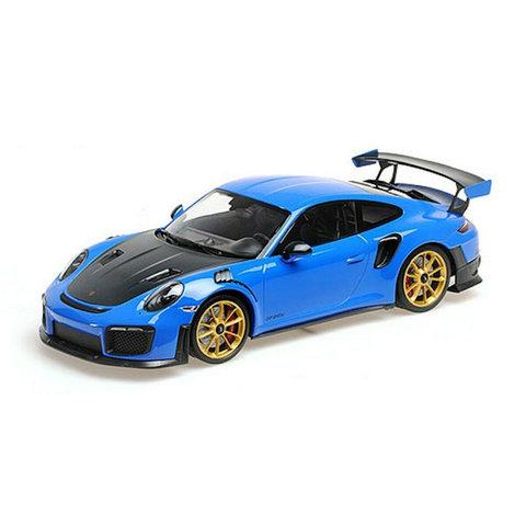 Modelauto Porsche 911 (991 II) GT2 RS 1:18 Weissach Package blauw 2018