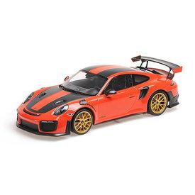 Minichamps | Modelauto Porsche 911 (991 II) GT2 RS 1:18 Weissach Package oranje 2018
