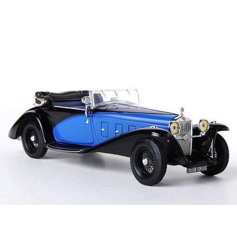 Delage D8SS 1932 zwart/blauw - Modelauto 1:43