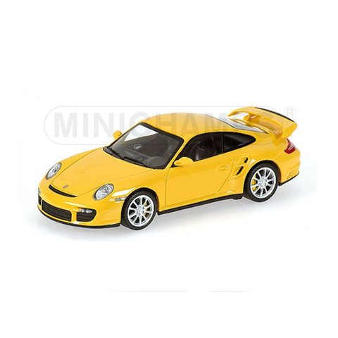 Porsche 911 GT2 2007 geel - Modelauto 1:43