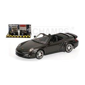 Minichamps Porsche 911 Turbo (997 II) Cabriolet 2009 grijs metallic - Modelauto 1:43