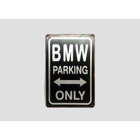 Parking Sign BMW 20x30 cm schwarz / silber