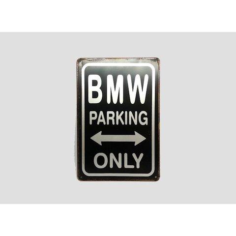 Parking Sign BMW 20x30 cm zwart / zilver