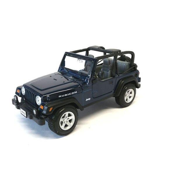 Modelauto Jeep Wrangler Rubicon donkerblauw 1:27