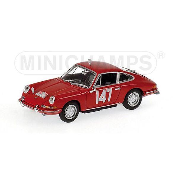 Modelauto Porsche 911 No. 147 1965 rood 1:43   Minichamps