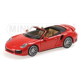 Minichamps Porsche 911 Turbo S Cabriolet 2013 rood - Modelauto 1:43