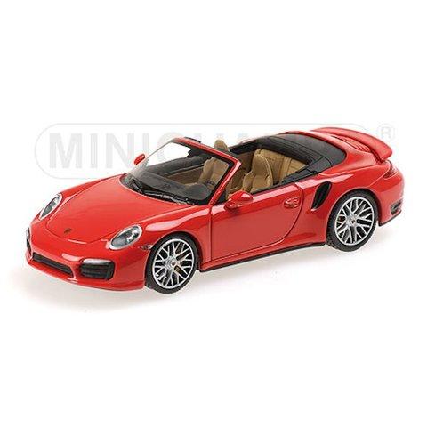 Porsche 911 Turbo S Cabriolet 2013 rood - Modelauto 1:43